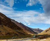 stock photo of manali-leh road  - Indian lorry on Manali - JPG