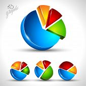 3d pie diagram for infographic or percentage data display. 4 different graph with high contrast colors