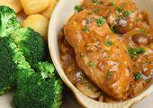 Chicken chasseur, classic French dish cooked with mushrooms and white wine.