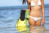 Travel beach fun concept - woman holding snorkeling fins standing in blue water under sunny sky on vacation holiday trip on tropical beach. Mid-section of bikini girl having summer fun.