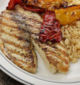 Grilled Tilapia Fillet With Rice And Vegetables