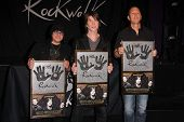 LOS ANGELES - MAY 7:  Robby Takac, John Rzeznik, Mike Malinin at the Goo Goo Dolls RockWalk Inductio