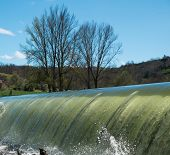 Weirs on river on a beautiful day