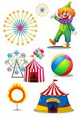 Illustration of a clown with the different things in a carnival on a white background