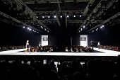 MOSCOW - APR 4: Models walk at podium in Gostiny Dvor during Volvo Fashion Week, April 4, 2012, Mosc