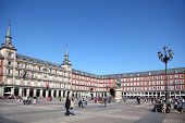 MADRID - MARCH 9: People walk at Plaza Mayor, on March 9 2012 in Madrid, Spain. People from the UK,