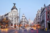 MADRID - MARCH 10: Edifisio Metropolis building on Gran Via street, on March 10 2012 in Madrid, Spai