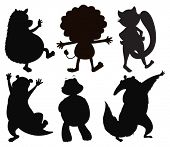 Illustration of the silhouettes of different wild animals on a white background