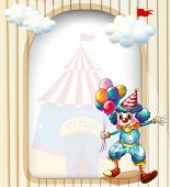 Illustration of a clown with balloons at the entrance of the carnival