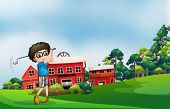 Illustration of a boy playing golf near the barn