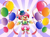 Illustration of a clown juggling in the middle of the balloons on a white background