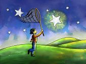 stock photo of reach the stars  - Kid trying to catch a star with a butterfly net - JPG