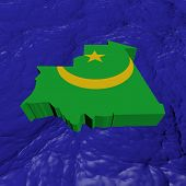 Mauritania map flag in abstract ocean illustration