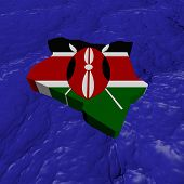 Kenya map flag in abstract ocean illustration