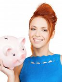 picture of lovely woman with big piggy bank
