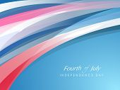 Fourth of July, American Independence Day concept with shiny waves and text Fourth of July.