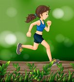 Illustration of a woman running above a wood with leaves