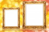 Golden Picture Frame  On The Bokeh Background