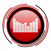sound red circle web glossy icon on white background