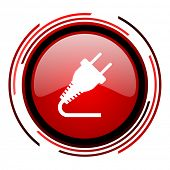 plug red circle web glossy icon on white background
