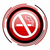 no smoking red circle web glossy icon on white background