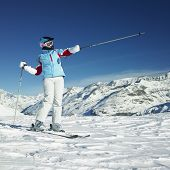 woman skier, Alps Mountains, Savoie, France