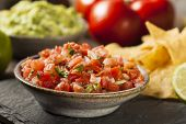 stock photo of nachos  - Homemade Pico De Gallo Salsa and Chips Ready to Eat - JPG