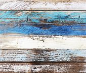 foto of driftwood  - Closeup of wooden panel or planks in nautical colors - JPG