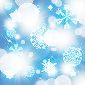 Snowflakes on abstract blue background
