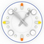 a clock consist of the plate, pills, forks with a knife on a white background. 3D illustrations