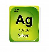 Silver chemical element with atomic number, symbol and weight