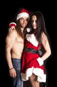 Santa Couple Her Show Leg
