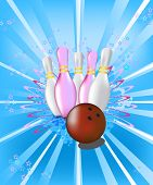 Illustration with the image of bowling pins and ball for bowling