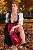 picture of cleavage  - Sexy beautiful young woman in a dirndl posing outdoors in an autumn park showing her cleavage and a bare leg as she stares thoughtfully into the distance - JPG
