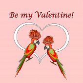 A Couple Of Macaw Parrots With A Heart And Words