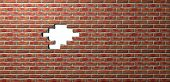 image of orifice  - A flat face brick wall texture with a portion missing out the middle creating a hole through to a plain white background - JPG