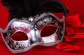 Venetian Mask And Hearts On Red Background