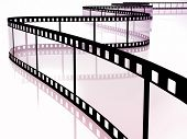 3d image of film strip on white