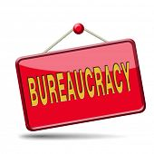Bureaucracy paper work and public administration of official files and documents