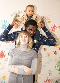 Happy  Family  Black Father, Mom And Baby Boy Use It For A Child, Parenting Or Love Concept