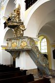LITOVEL, CZECH REPUBLIC CIRCA MARCH 2011 - The pulpit in the church of Saint Mark