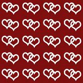 White Interwoven Hearts And Red Thin Stripes Horizontal Textured Fabric Background