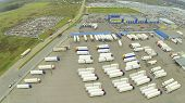 Above view of truck parking. View from unmanned quadrocopter.