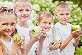 Children stand against blooming bushes holding half-eaten green apples, focus on boy second at left
