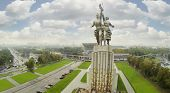 Grand monument Worker and Collective Farm in Moscow, Russia. View from unmanned quadrocopter.
