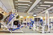stock photo of health center  - Fitness center with traineger equipments - JPG