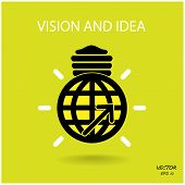 Vision And Ideas Sign,world Icon And Business Logo, Light Bulb Symbol