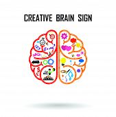 stock photo of music symbol  - Creative left and right brains Idea concept  - JPG