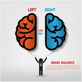image of left brain  - Creative brain Idea concept background design  - JPG