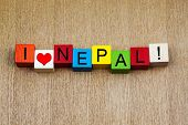 I Love Nepal, Asia, Sign Series for Travel and Holidays